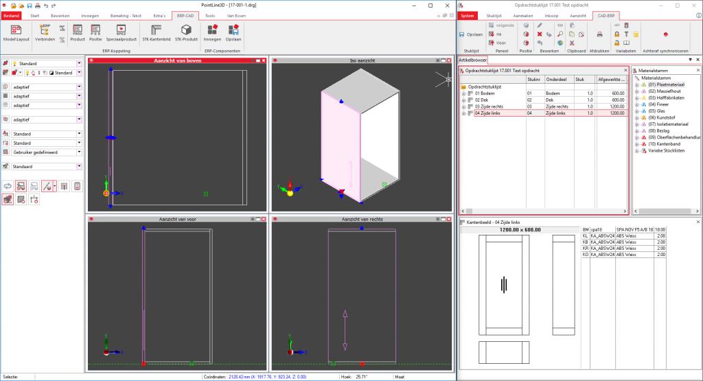 PointLineCAD tekening gekoppeld met stuklijst van PointLineProject ERP